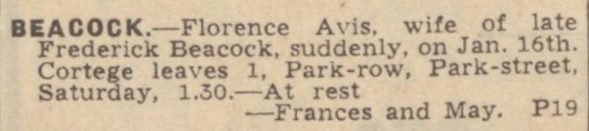 1Death of Florence Avis Beacock Hull Daily Mail 19 January 1940