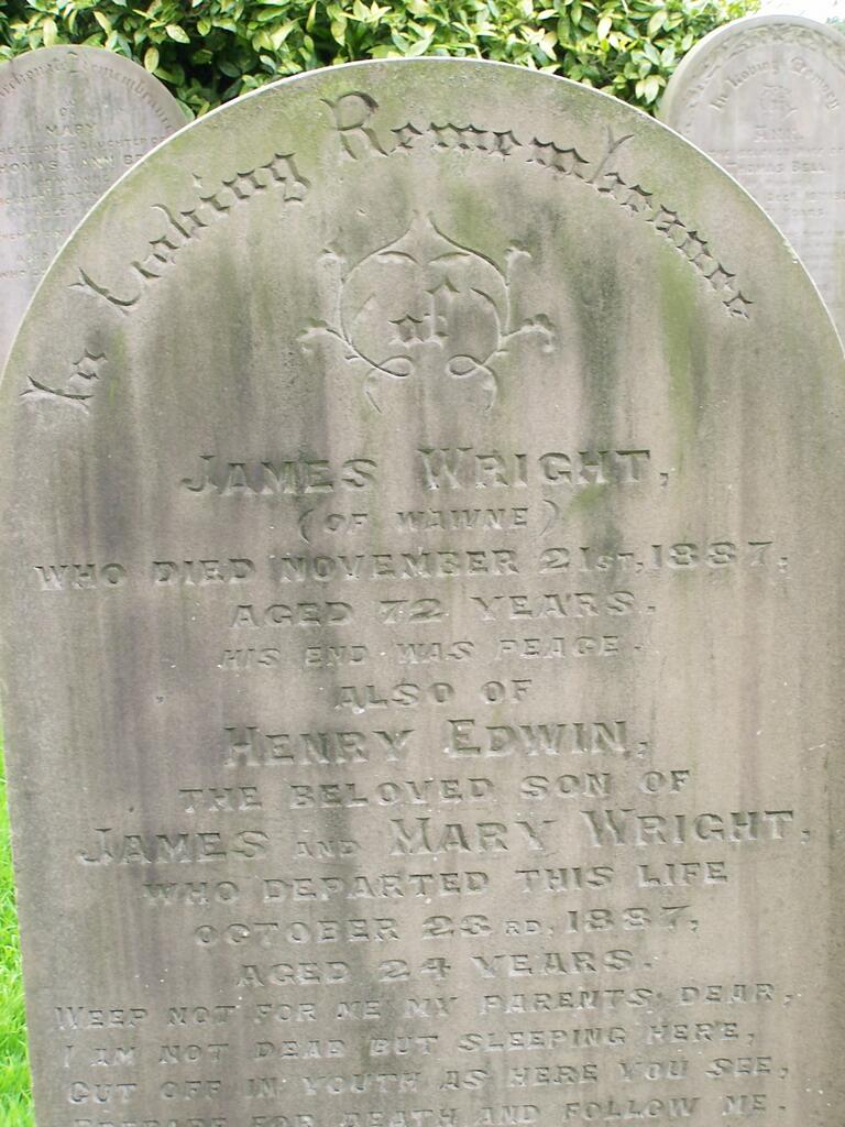James Wright Gravestone - St Peter's Church Cemetery Wawne.jpg
