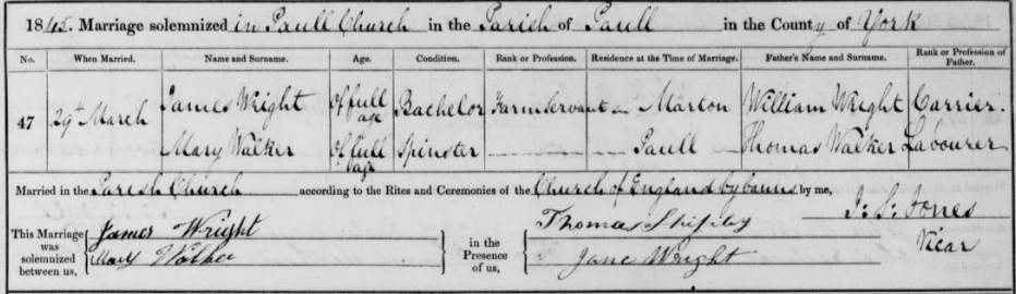 Zoom_James Wright and Mary Walker Marriage Record