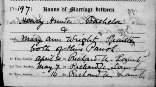 Zoom_Marriage Banns of Henry Hunter and Mary Ann Wright 1898.PNG