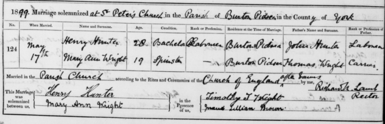 Zoom_Marriage Record of Henry Hunter and Mary Ann Wright.PNG