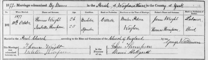 Zoom_Marriage record of Isabella Thomson and Thomas Wright