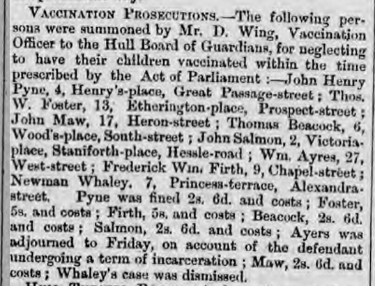 Thomas Beacock Vaccination Prosecutions - Hull Packet 14 May 1875.PNG