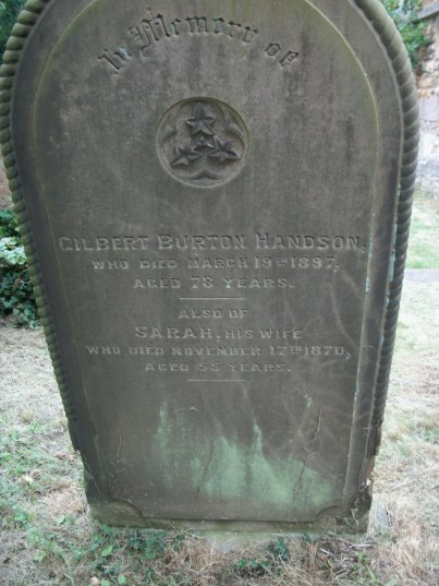 Gravestone of Gilbert B Handson and Sarah (nee Beacock).jpg