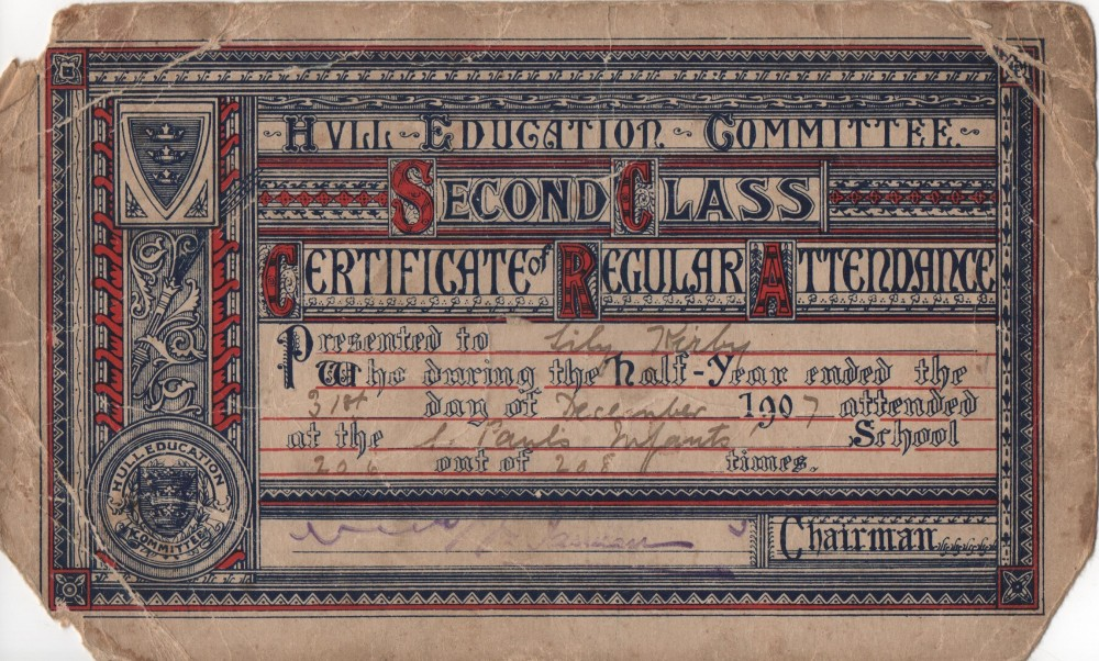 Lily Kirby Attendance Record from Infant School 1907.jpg