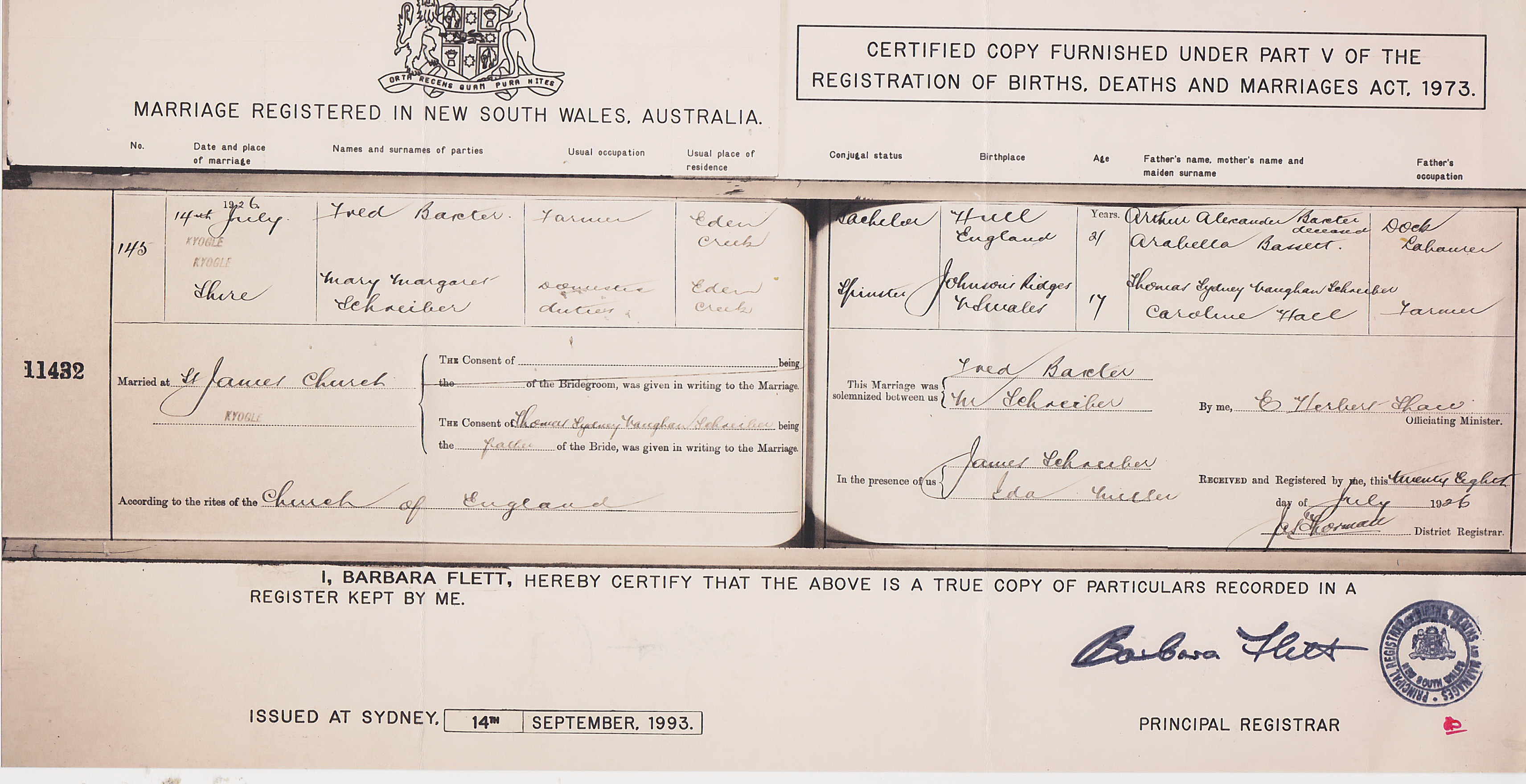 Frederick Baxter and Mary Schreiber Marriage Cert